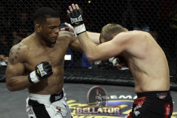 Hector Lombard (l) will try to defend his title against Alexander Schlemenko once again (Photo: Bellator.com)