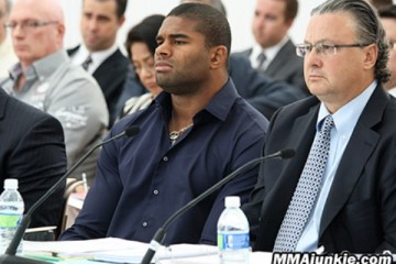 Alistair Overeem (L) sits with his lawyer David Chesnoff at the NSAC hearing (MMAjunkie)