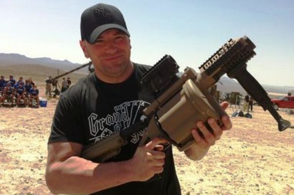 UFC President Dana White holds a grenade launcher prior to the TUF Live coaches' challenge (SB Nation)