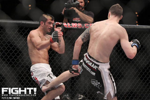 Josh Grispi (L) battles George Roop (Paul Thatcher/Fight! Magazine)