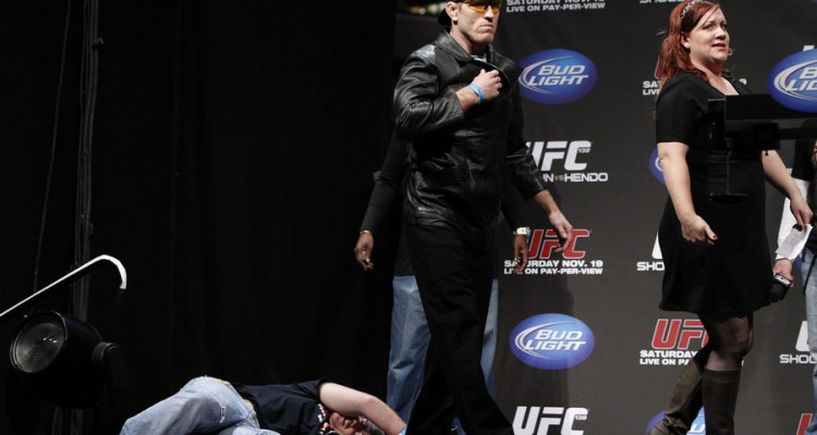 Tom Lawlor impersonates Steven Seagal during the UFC 139 weigh-ins (Esther Lin/MMA Fighting)