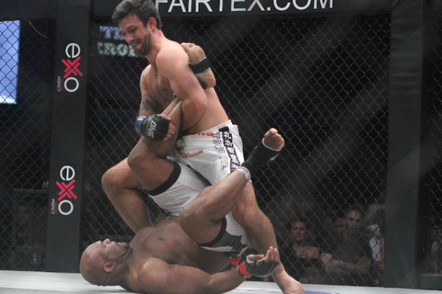 Rolles Gracie (top) battles Bob Sapp (One FC)