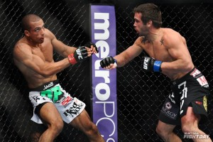 Jamie Varner (R), after landing the knockout blow, watches Edson Barboza fall (James Law/Heavy MMA)