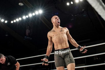 Mutapcic celebrates his victory at MFC 34 (Maximum Fighting Championship)
