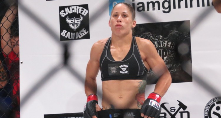 Carmouche in the Invicta cage (Jeff Vulgamore/The MMA Corner)
