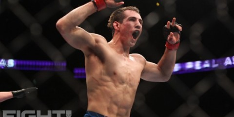 Rory MacDonald celebrates his UFC 145 win (Paul Thatcher/Fight! Magazine)