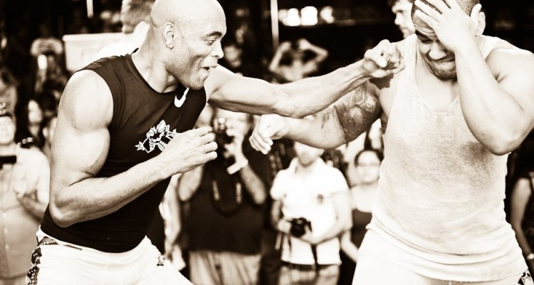 Anderson Silva (L) at UFC 148 open workouts (James Law/Heavy MMA)