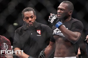 Derek Brunson (R) gets emotional after his victory over Chris Leben at UFC 155 (Paul Thatcher/Fight! Magazine)