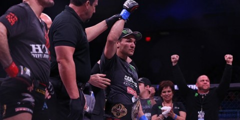 Michael Chandler has his arm raised in victory (Dave Mandel/Sherdog)