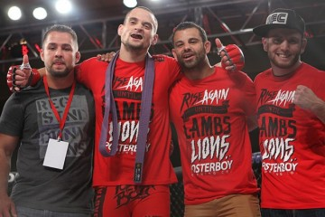 James Krause (second from left) celebrates with his team (Dave Mandel/Sherdog)