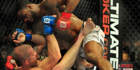Tyron Woodley (top) delivers ground and pound (Phil Lambert/The MMA Corner)