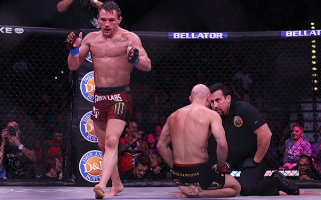 Michael Chandler (L) walks away after submitting Rick Hawn at Bellator 85 (Dave Mandel/Sherdog)