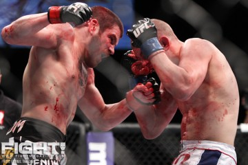 Jim Miller and Joe Lauzon fought a bloody battle that could have been the fight of the year at UFC 155 (Paul Thatcher/Fight! Magazine)