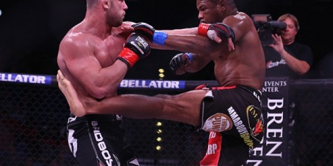 Newton (R) and Djambazov battle in the tournament, but on the prelims, at Bellator 85 (Dave Mandel/Sherdog)