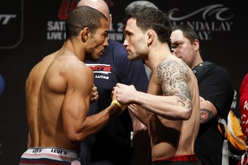 Jose Aldo (L) faces off with Frankie Edgar (Esther Lin/MMA Fighting)