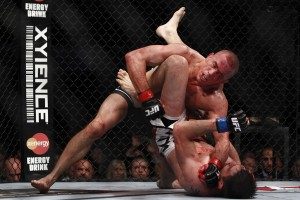 St-Pierre delivers ground and pound (Esther Lin/MMA Fighting)