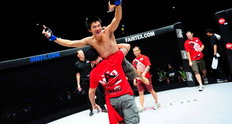 Thanh Vu celebrates victory (ONE FC)