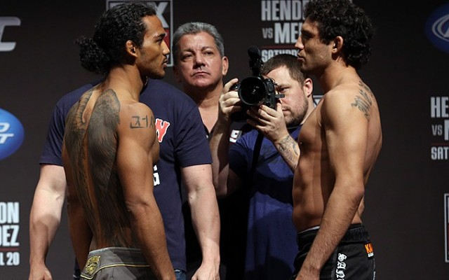 Benson Henderson (L) faces off with Gilbert Melendez (Dave Mandel/Sherdog)