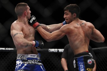 Nijem (R) scores with an uppercut (Esther Lin/MMA Fighting)