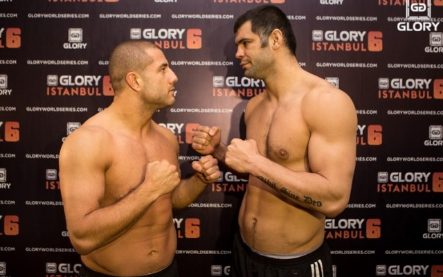 Gokhan Saki (L) faces off with Daniel Ghita (Ben Pontier/GLORY)