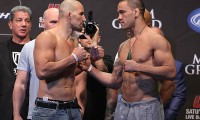 Glover Teixeira (L) squares off with James Te Huna (Dave Mandel/Sherdog)