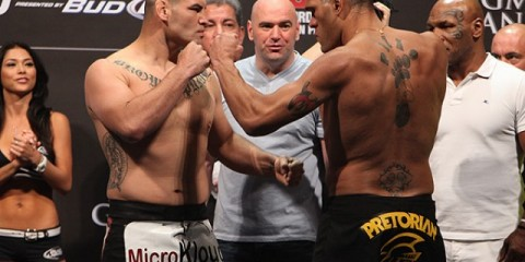 "Cain Velasquez (L) squares off with Antonio ""Bigfoot"" Silva (Dave Mandel/Sherdog)"