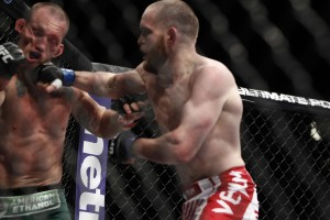 Grant (r) knocked out Maynard at UFC 160 and earned a title shot against Henderson (Esther Lin/MMA Fighting)