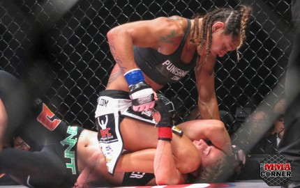 """Cyborg"" (top) (Jeff Vulgamore/The MMA Corner)"
