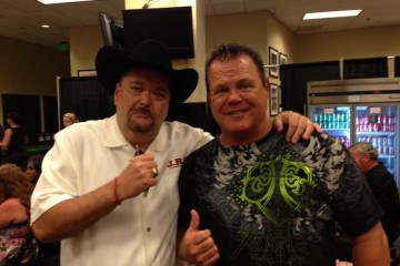 Jim Ross (L) poses with Jerry Lawler (Twitter.com/JRsBBQ)
