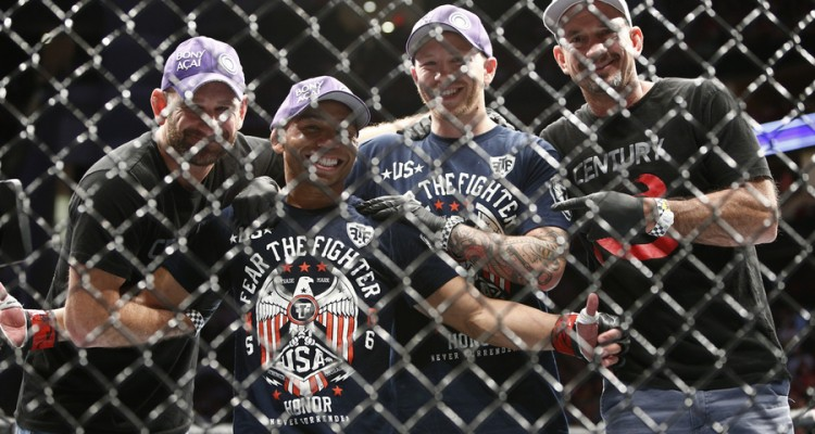 John Dodson (second from left) (Esther Lin/MMA Fighting)
