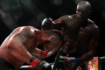 Cheick Kongo (R) lands a right hand (Dave Mandel/Sherdog)