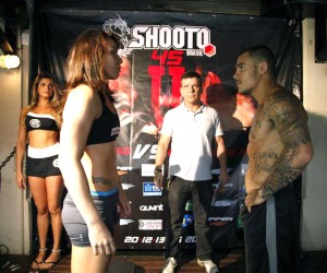 Velasquez (L) faces off with Falcao (Facebook/BrasilShooto)