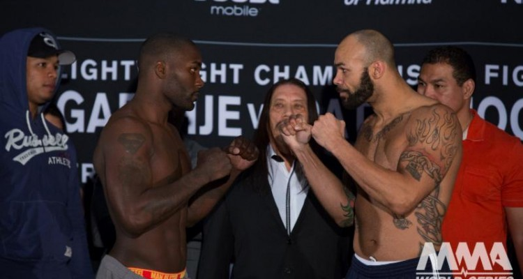 "Anthony ""Rumble"" Johnson (L) faces off with Mike Kyle (Lucas Noonan/WSOF)"