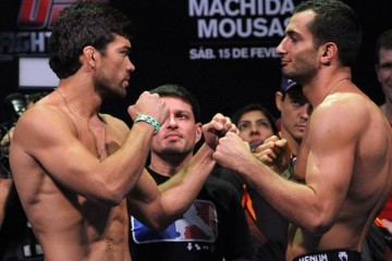 Lyoto Machida (L) faces off with Gegard Mousasi (Gleidson Venga/Sherdog)