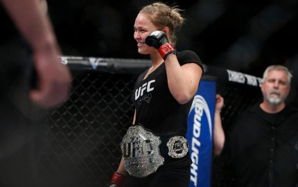 While Rousey will never officially go up against a male, she has proved that she can definitely hang with the boys (Esther Lin/MMA Fighting)
