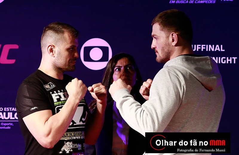Fabio Maldonado (L) faces off with Stipe Miocic (Fernando Mucci/Olhar do fã no MMA)