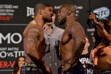 "Quinton ""Rampage"" Jackson (L) faces off with Muhammed ""King Mo"" Lawal (Bellator MMA)"