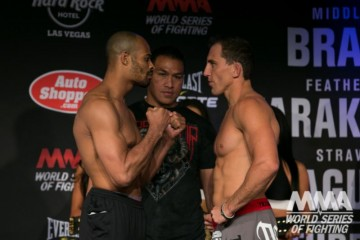 David Branch (L) squares off with Jesse Taylor (World Series of Fighting)