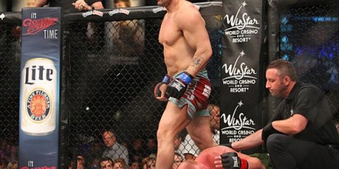 James Thompson walks away from battering Eric Prindle (Keith Mills/Sherdog)