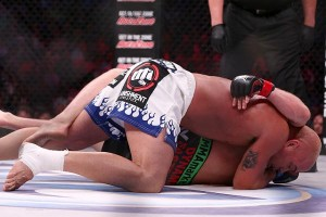 Shlemenko (bottom) was on the wrong end of this arm triangle choke at Bellator 120 (Dave Mandel/Sherdog)