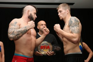 Jake Collier (r) vs. Gabriel Checco (RFA: Resurrection Fighting Alliance/Facebook)