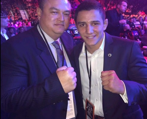 Scott Coker (l) and Aaron Pico (Bellator MMA/Twitter)