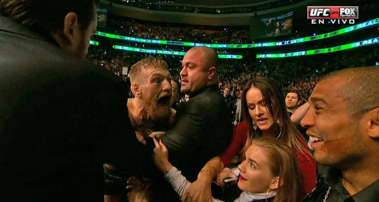 Conor McGregor (L) confronts Jose Aldo (R) following his second round TKO win over Dennis Siver (FOX Sports)