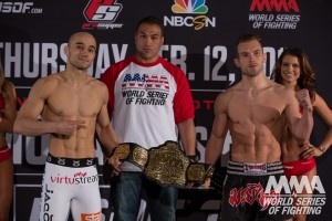 Marlon Moares (L) and Josh Hill (R) pose with the WSOF bantamweight title at WSOF 18 weigh-ins (Lucas Noonan/WSOF)