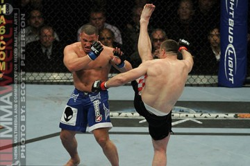 Mirko Cro Cop Delivers Axe Kick to Pat Barry (Scott Peterson/MMA Weekly)