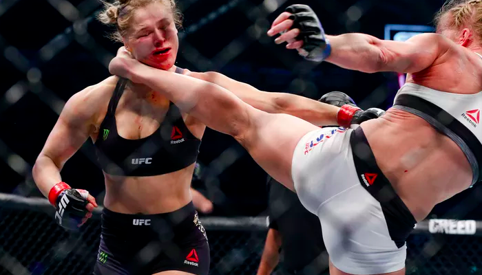 Ronda Rousey is knocked out by Holly Holm at UFC 193 in Melbourne. (Esther Lin/MMA Fighting)