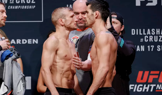TJ Dillashaw (L) vs. Dominick Cruz (R) (Esther Lin/MMAFighting.com)