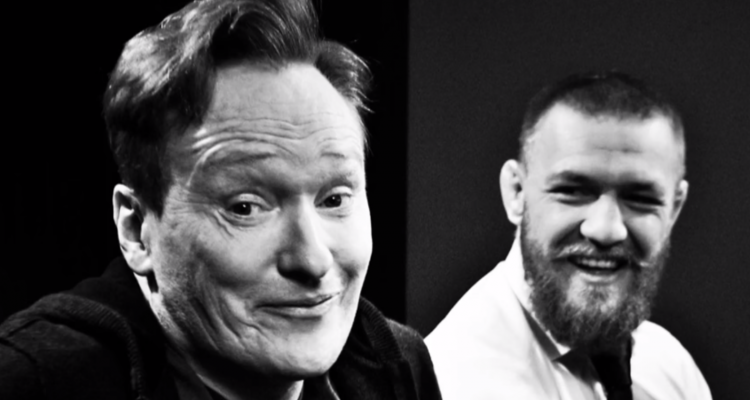 Conan O'Brien (L) practices his fight-night stare down for McGregor (R)  (Source: Team Coco/YouTube)
