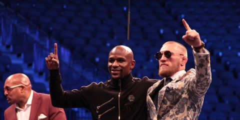 Floyd Mayweather (l) and Conor McGregor (Mike Sloan/Sherdog)